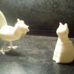pièces imprimées en 3d - chat et poule